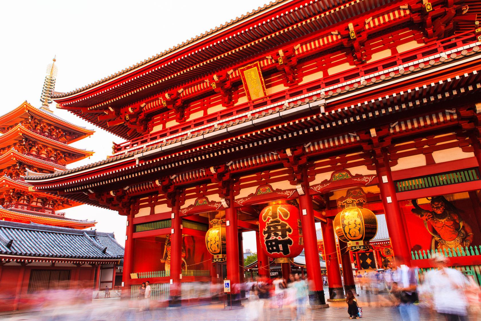 FTG Sensoji-ji Red Japanese Temple in Asakusa, Tokyo, Japan